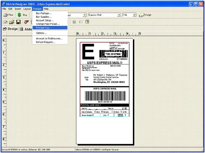 Endicia mail label