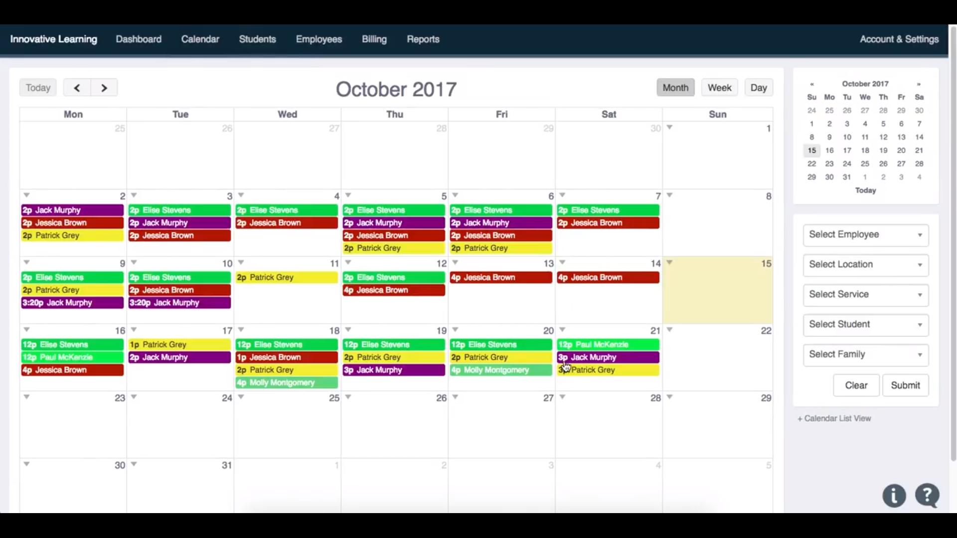 Teachworks calendar