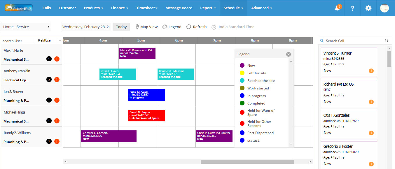 Intuitive and highly functional Gantt chart scheduler, with daily, weekly and map-based views