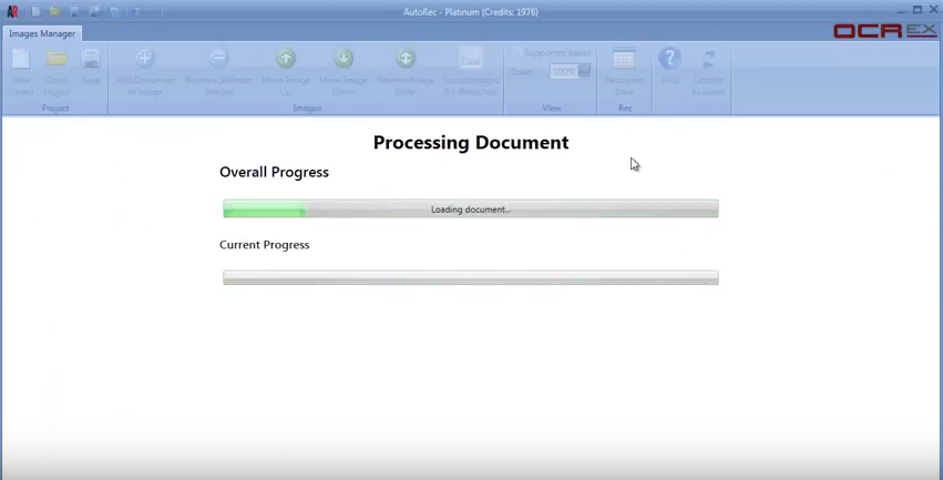 "Clicking ""Recognise Document"" prompts AutoRec to scan the document and extract data"
