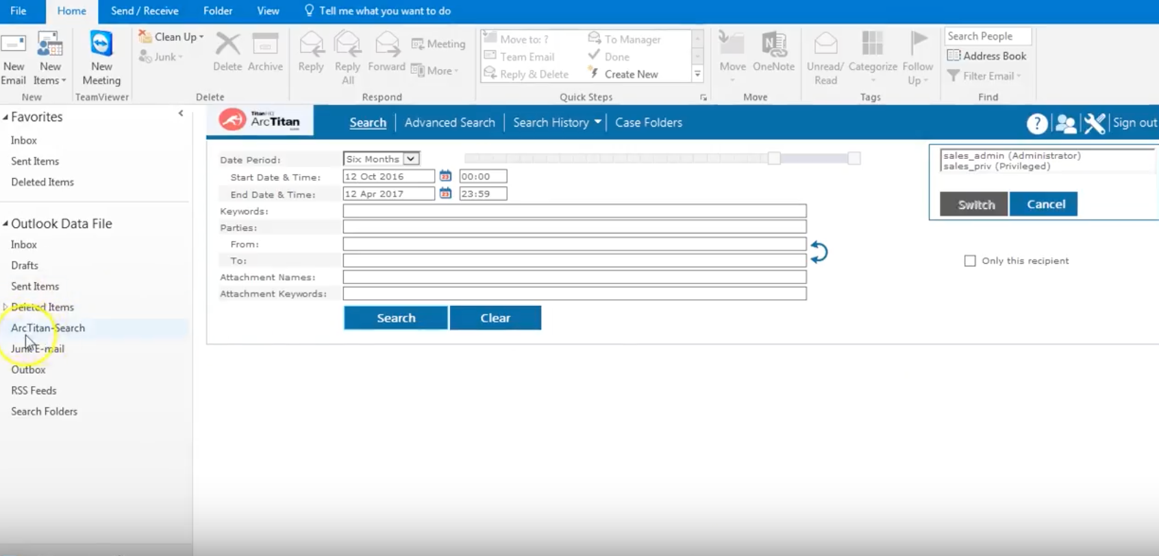 Utilize ArcTitan within Outlook to search and find archived emails without having to leave the email client