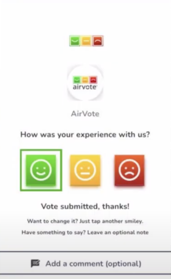 Airvote customer one-tap voting