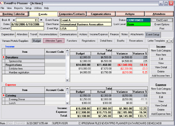 Manage finances and budgets in EventPro Planner