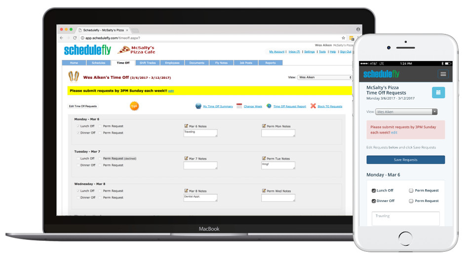 Easily manage your staff's availability. Your staff enters Time Off requests here. You can approve or decline requests, or leave them open - using your computer or phone. When scheduling, you're armed with whose available and who has requested time off.
