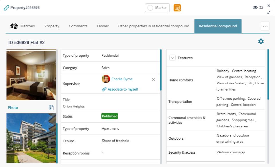 APRO CRM property profile screenshot