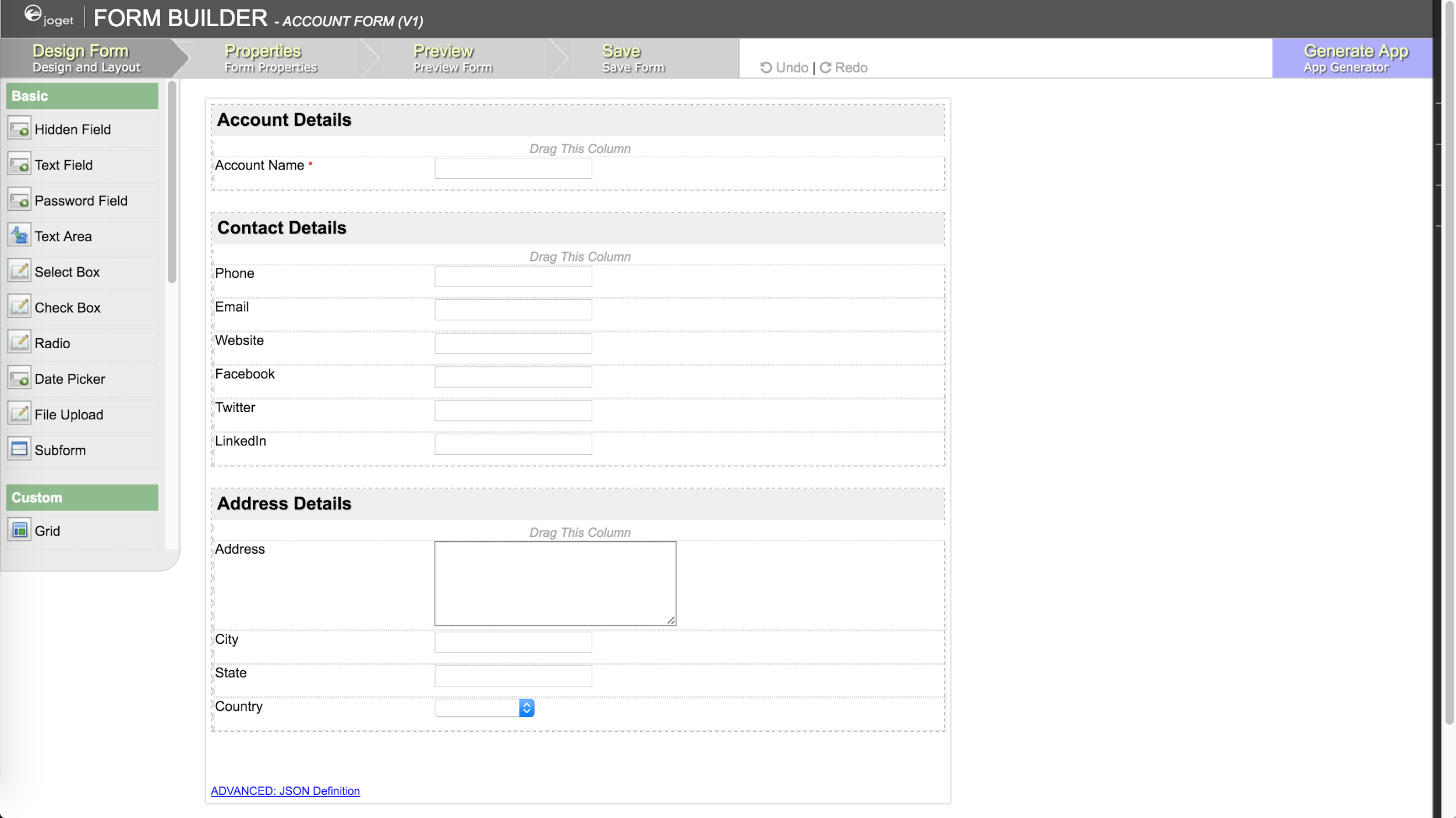 Joget Workflow Form Builder: Visually design forms with many available element.