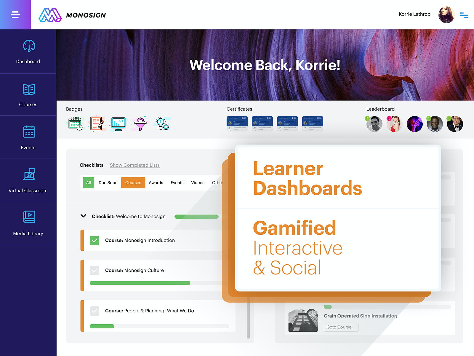Learner Dashboard, Gamified Interactive and Social