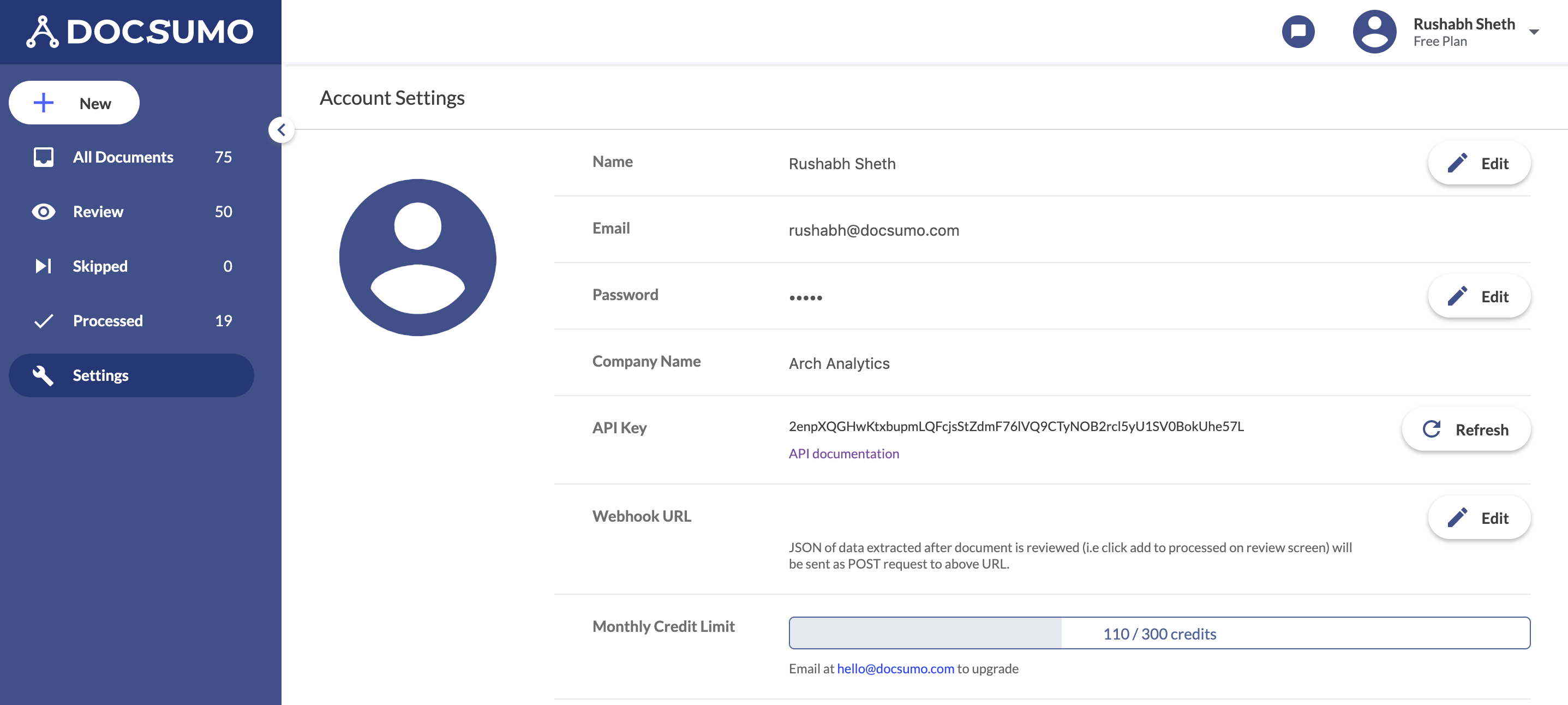 Integrate using API and view credits from the Settings page