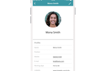 Plek screenshot: Look up a colleague in the app on your phone and click their phone number or email address to get in touch.