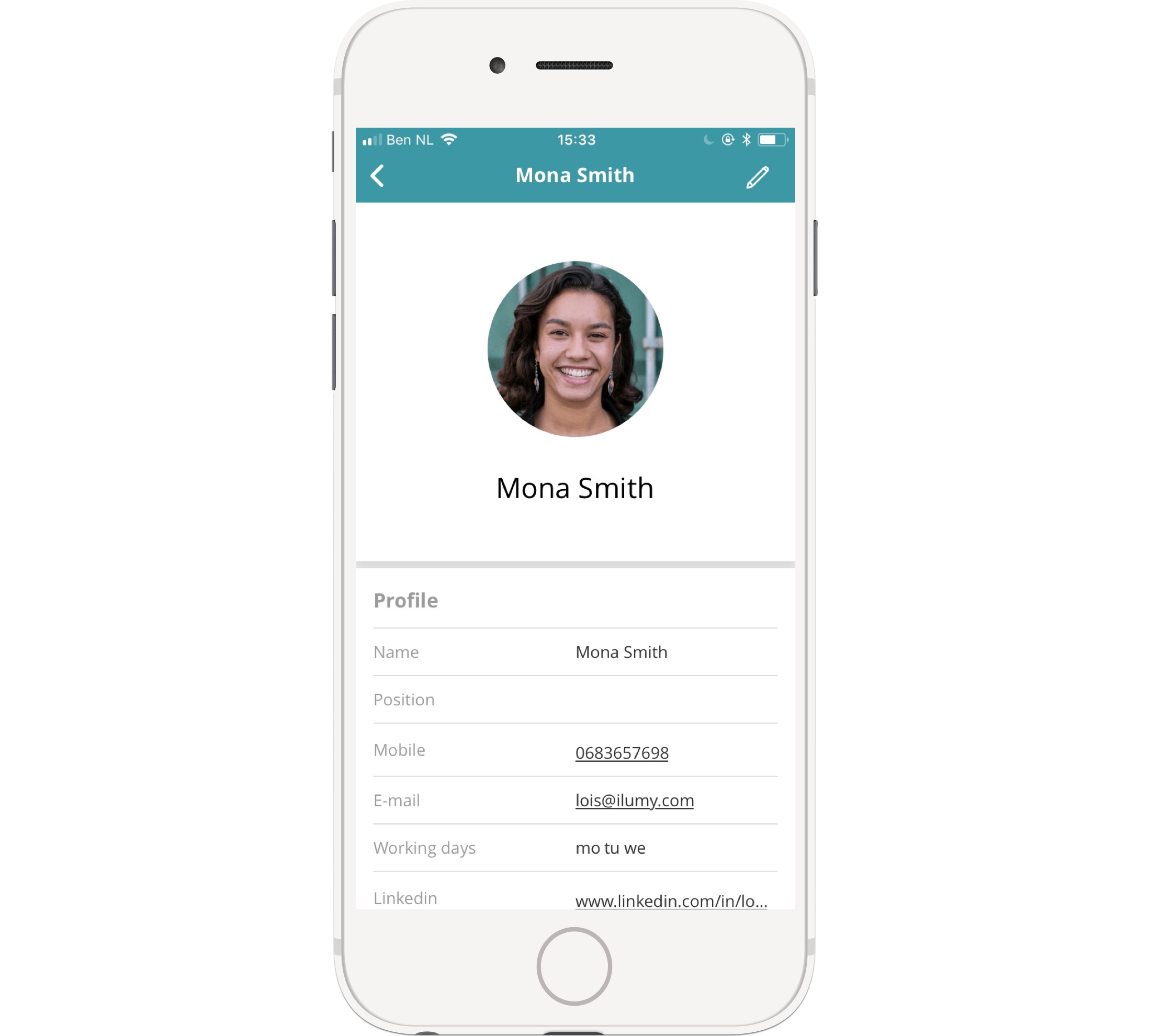 Look up a colleague in the app on your phone and click their phone number or email address to get in touch.