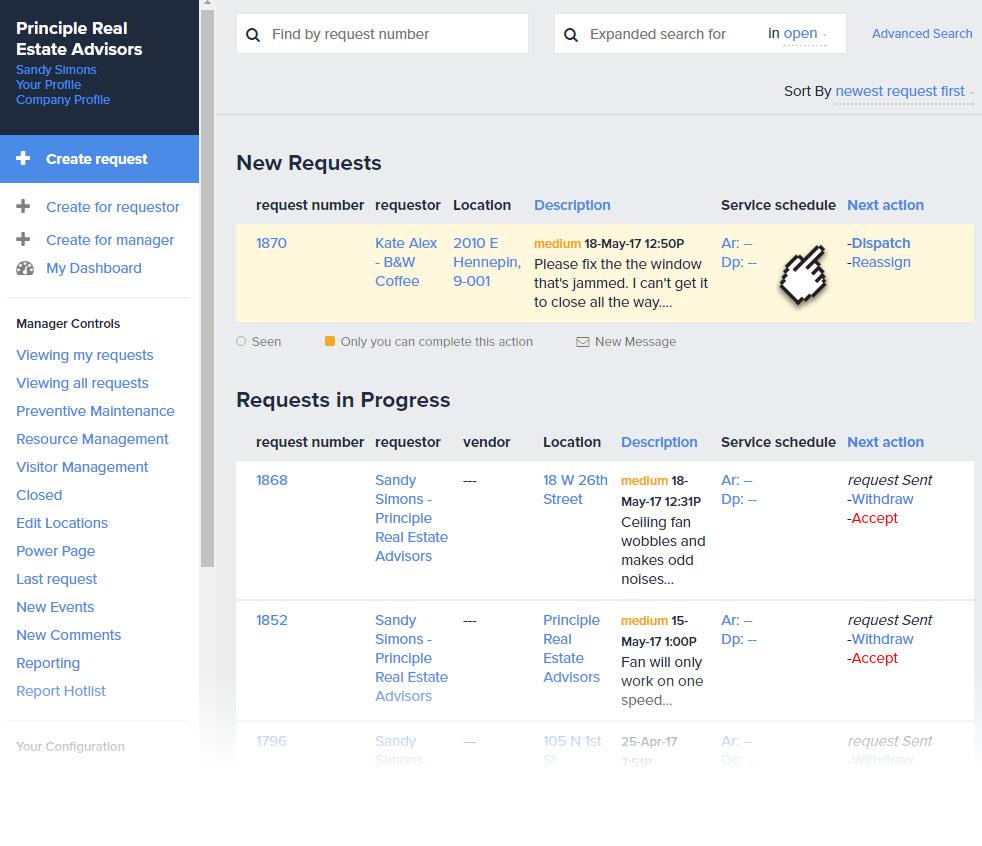 Landport search requests status