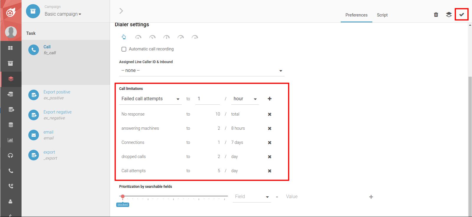Dialfire call limitations screenshot