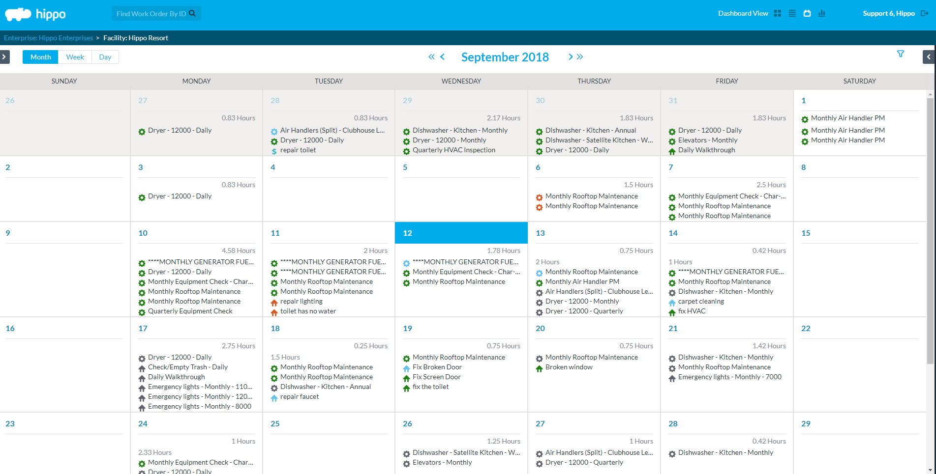 View and manage all PMs and work orders from a calendar. Click and drag, reschedule, filter, you name it.
