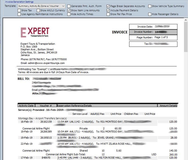 PASEO Software - PASEO: invoice sample screenshot