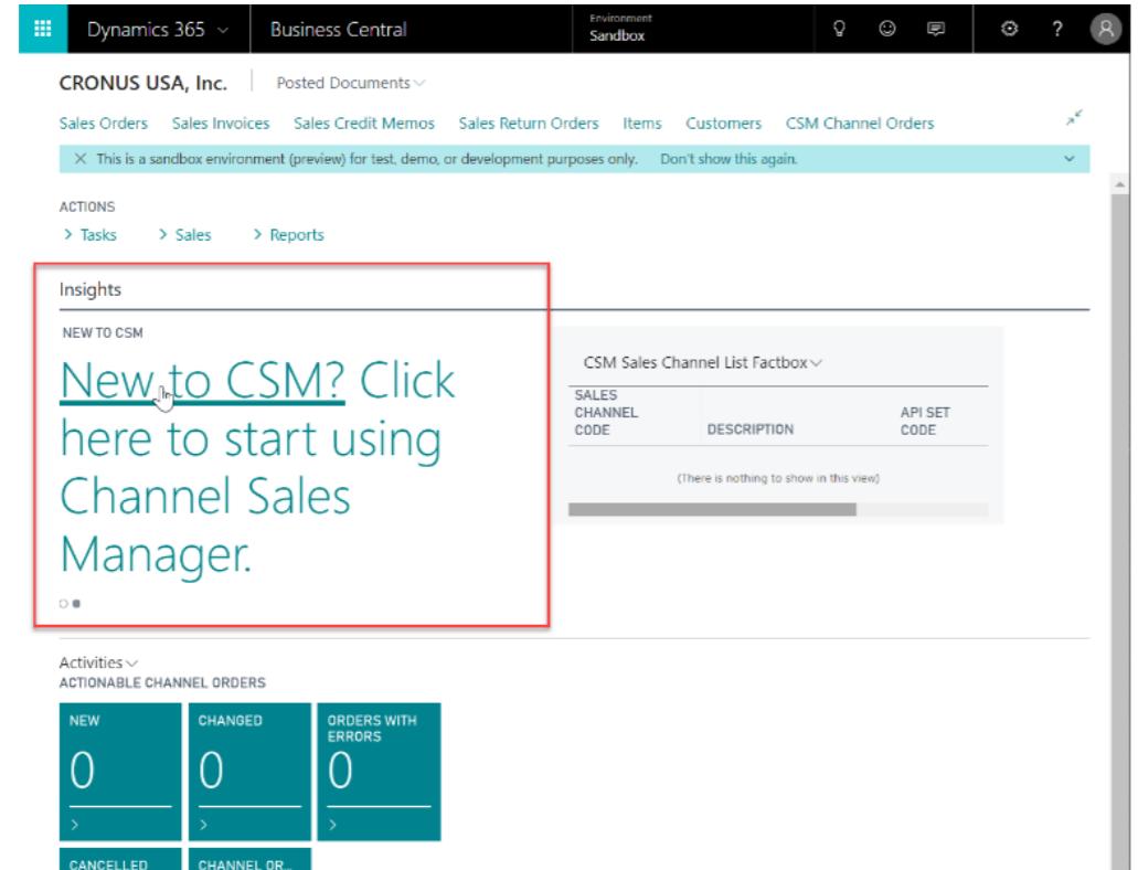 Suite Engine CSM screenshot: Channel Sales Manager set up