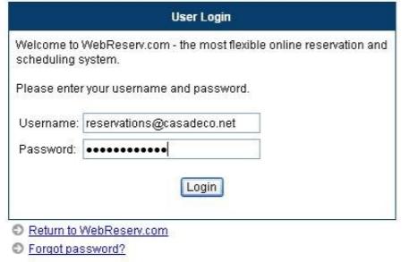 WebReserv user login screenshot