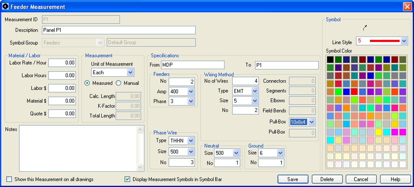 SureCount Software - Feeder Measurement Properties Menu