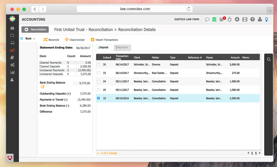 CosmoLex Software - CosmoLex - Built-In Accounting with Full Reconciliation