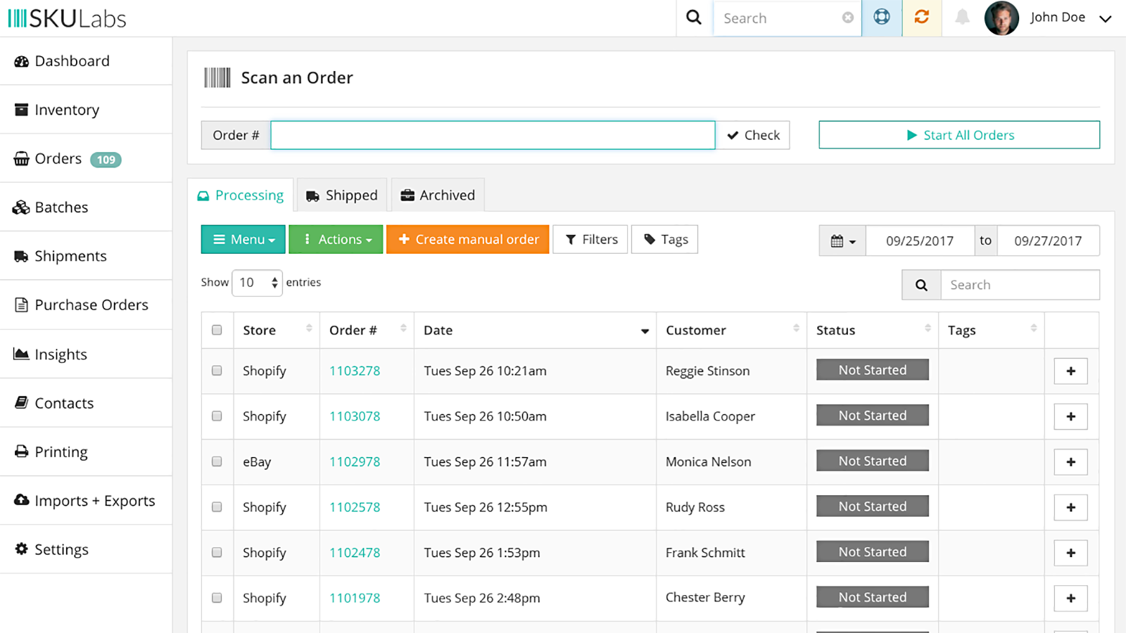 SKULabs Software - SKULabs Multichannel orders list