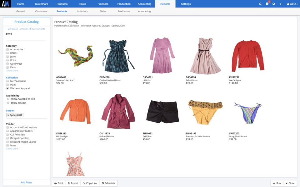 ApparelMagic product catalog