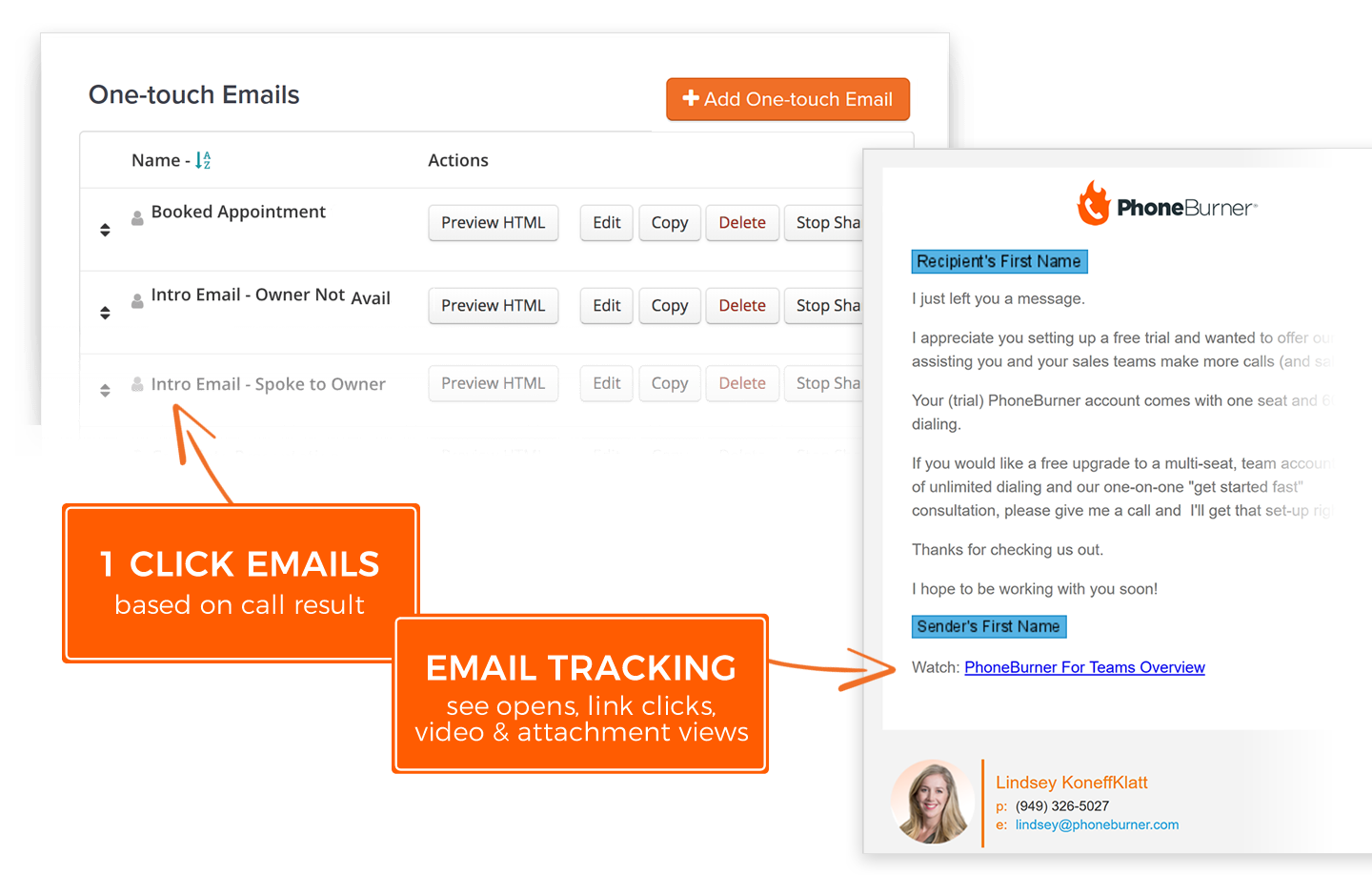 Send a personalized email after any call outcome with one click. Track email opens, link clicks, video views and more.