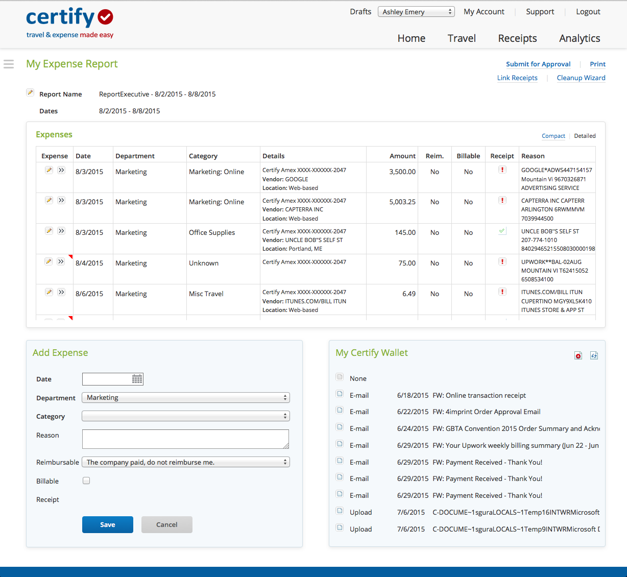 Emburse Certify Expense screenshot: Certify access all expense reports