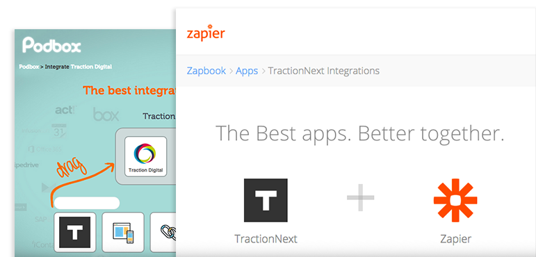 Integrate and connect TractionNext with Podbox and Zapier