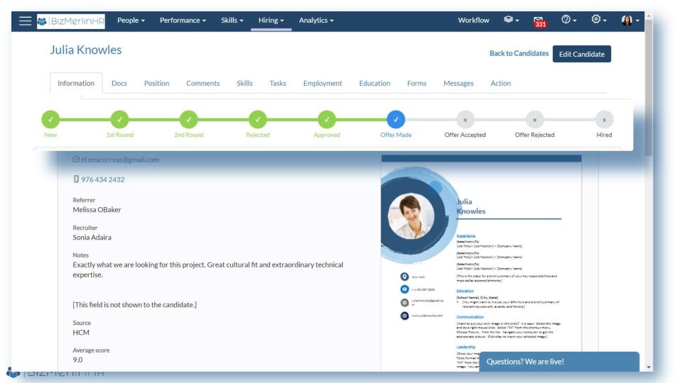 BizMerlinHR Software - Employee profiles