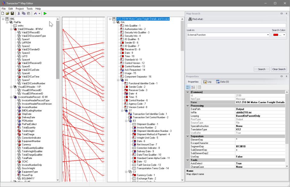 Tranzactor data mapping