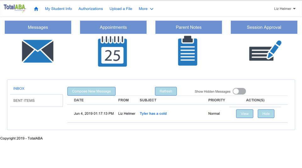 Total ABA parent portal screen