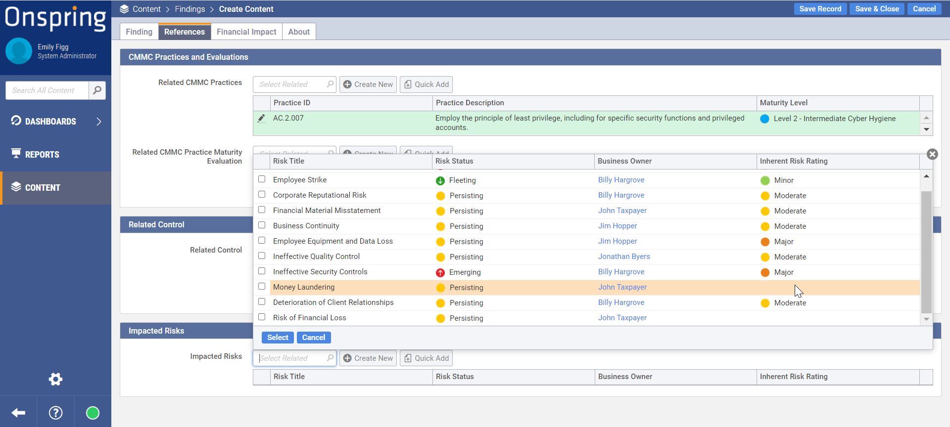 Relating Controls to Risks and Regs in Onspring Automation Software