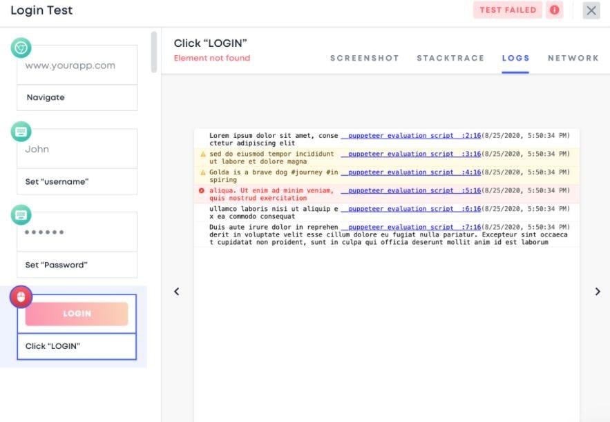 Testim Software - Testim login test