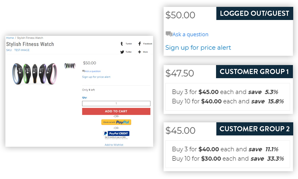 Customer Grouped pricing lets you show different pricing for each of your customer groups, as well as a retail price for logged out customers.