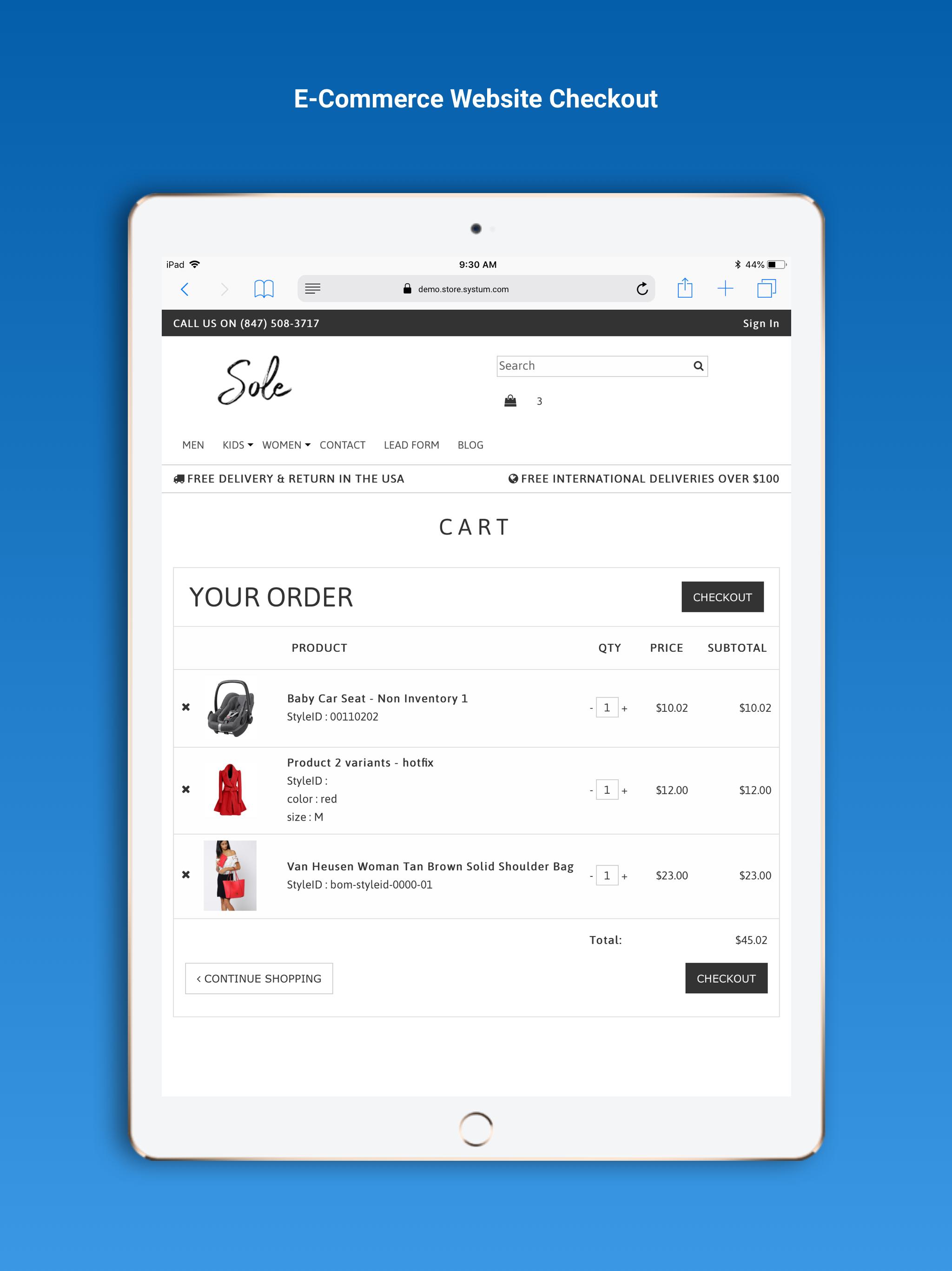 Systum e-commerce shopping cart  screenshot