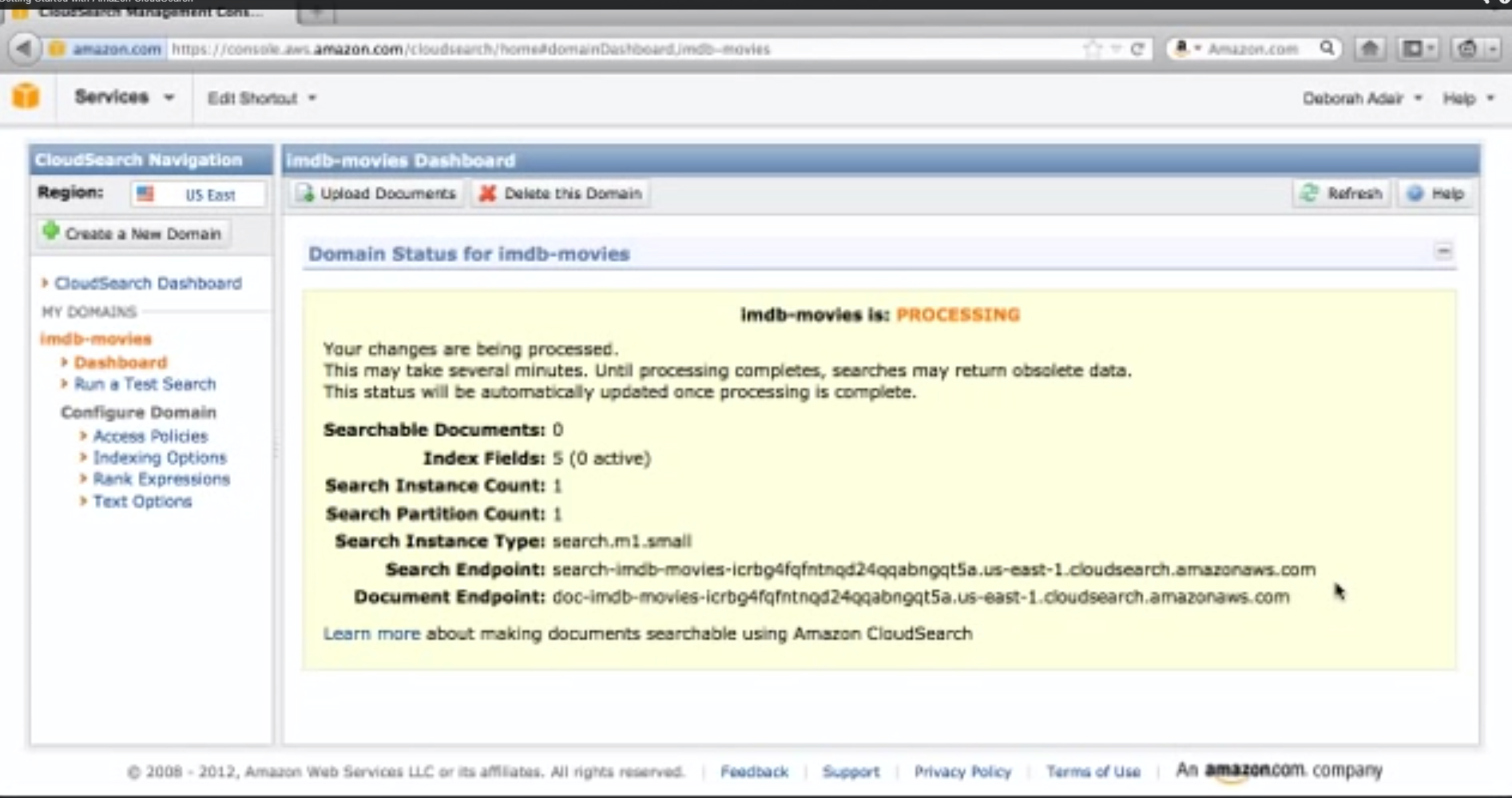 AmazonCloudSearch-WebsiteSearch-Dashboard