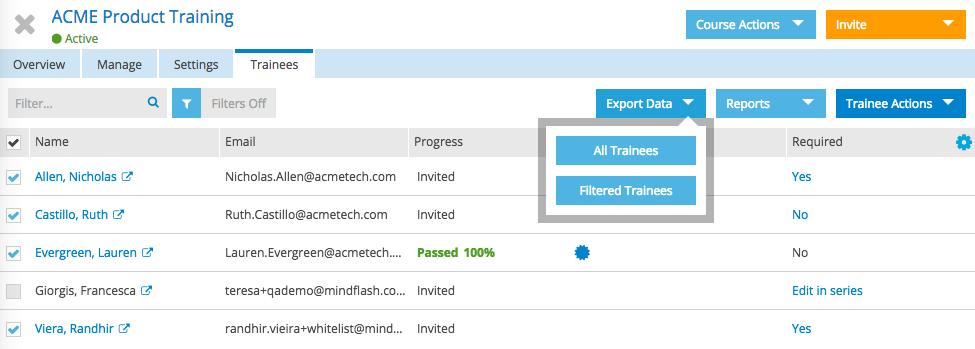 Mindflash Software - Export data