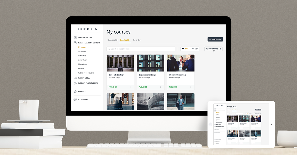 Manage all your courses from one dashboard, on any device