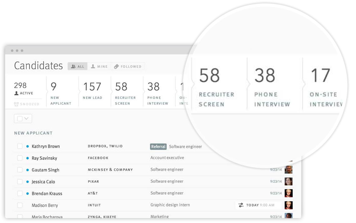 Lever screenshot: Track your entire recruiting process in one place with Lever's customizable pipeline dashboard