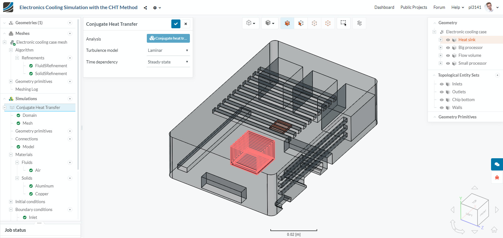Screenshot of the SimScale platform after the upload of an electronics enclosure CAD model