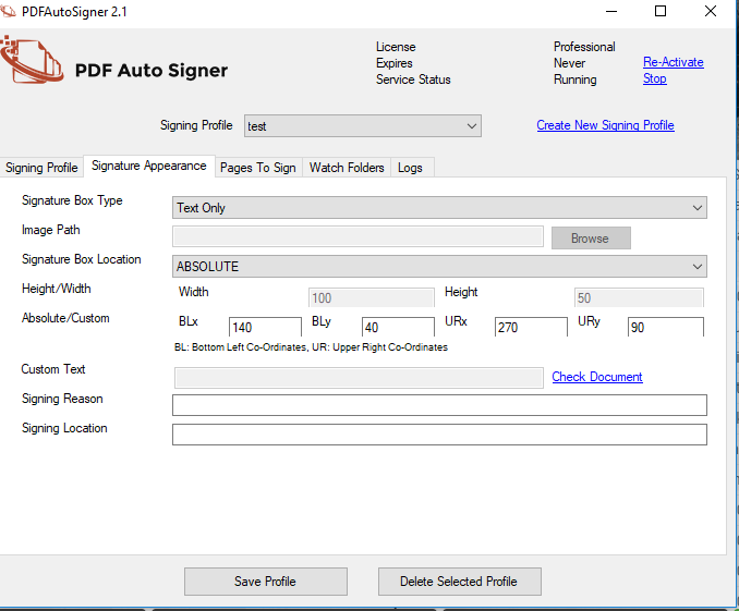 PDF AutoSigner signature appearance screenshot