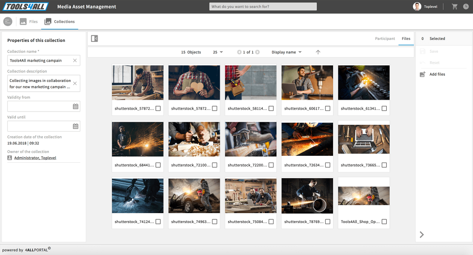 Find files and display search results in a zoomable tile view to create an instant overview of assets