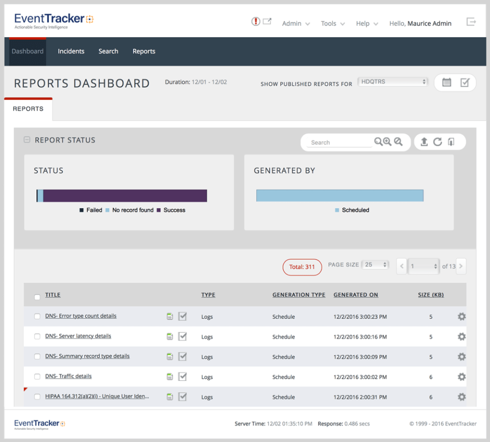 Netsurion Managed Threat Protection Software - EventTracker reporting