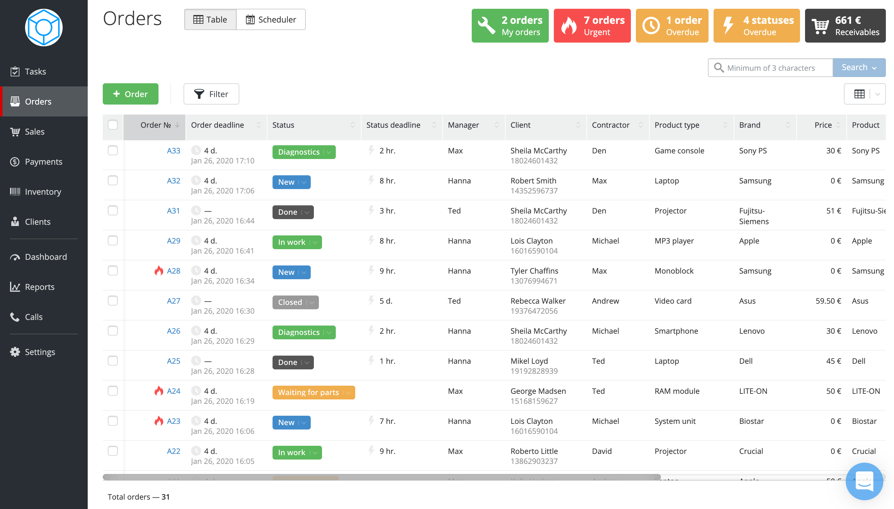 Order management page puts all your orders in a single table. The order entry contains the order number, status, deadline, contractor, client, and many more useful data columns. Filter your orders the way that is simple and convenient for you