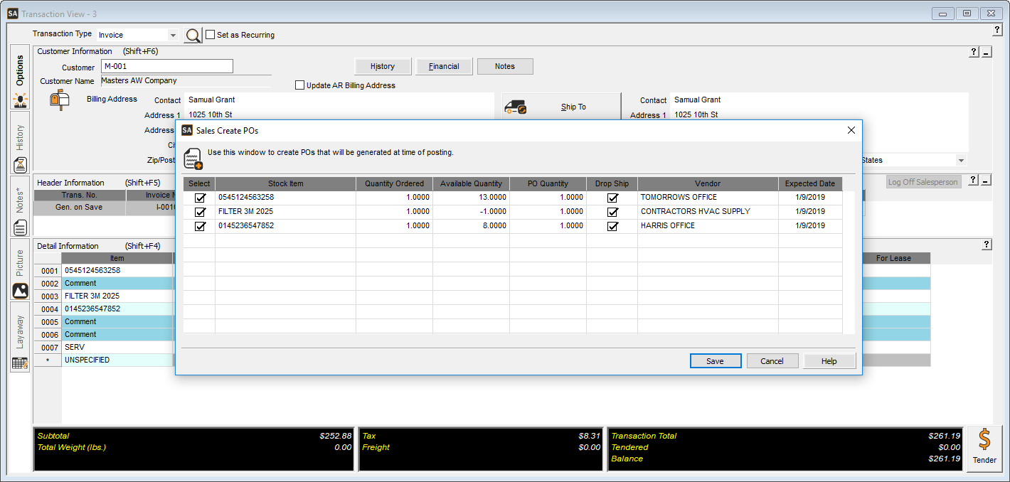 Denali Business Software - Create Purchase Order From Sales