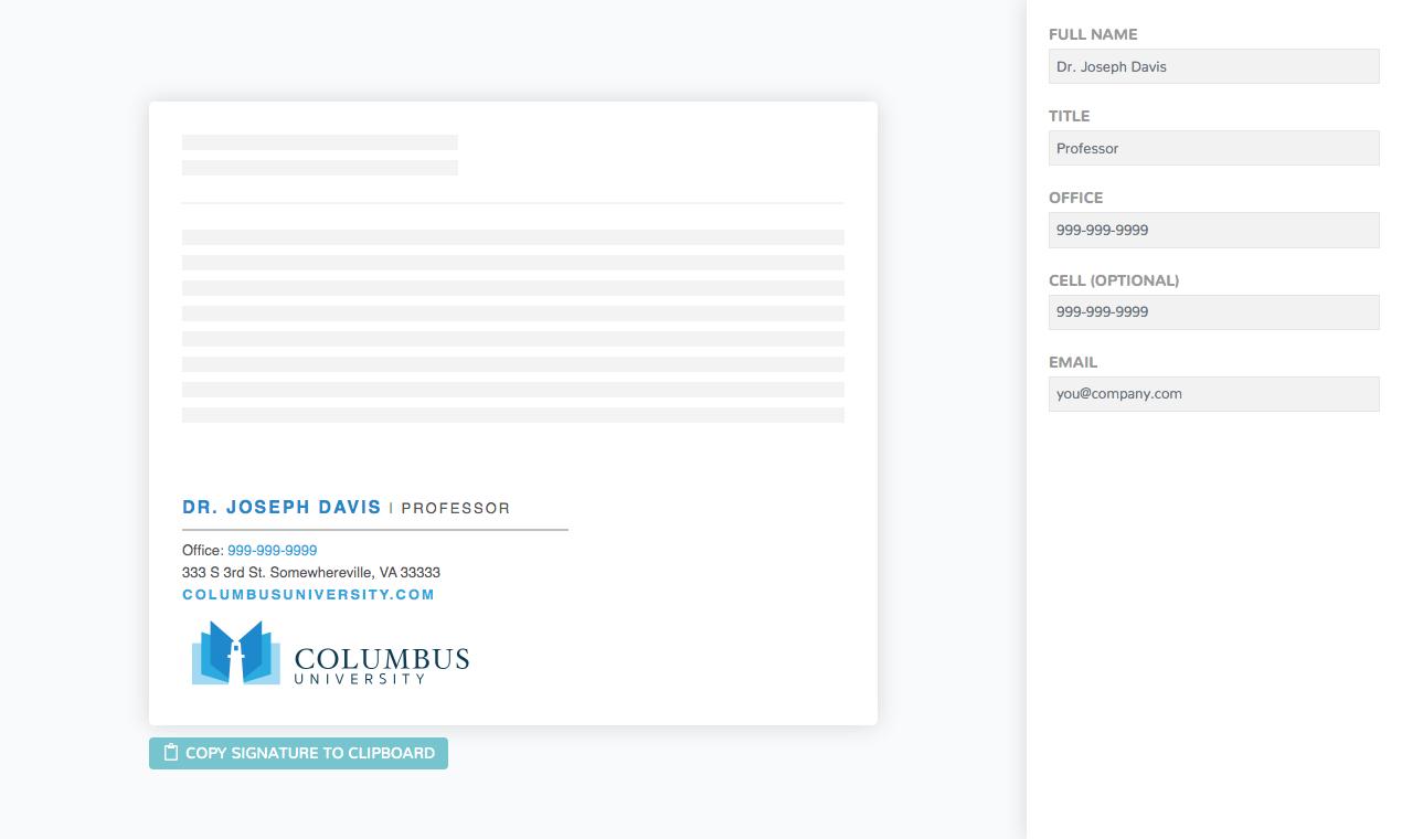 Signature generator links help employees create signatures