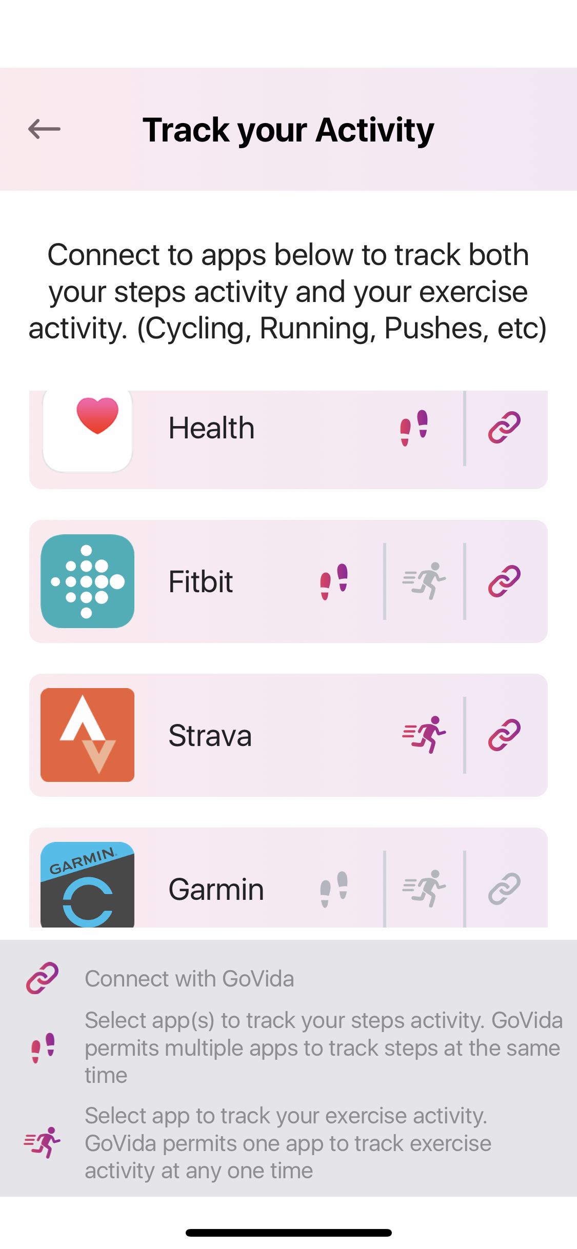 GoVida Track your steps and activities through our direct integrations with Garmin, Fitbit, Apple Health, Googlefit and Strava