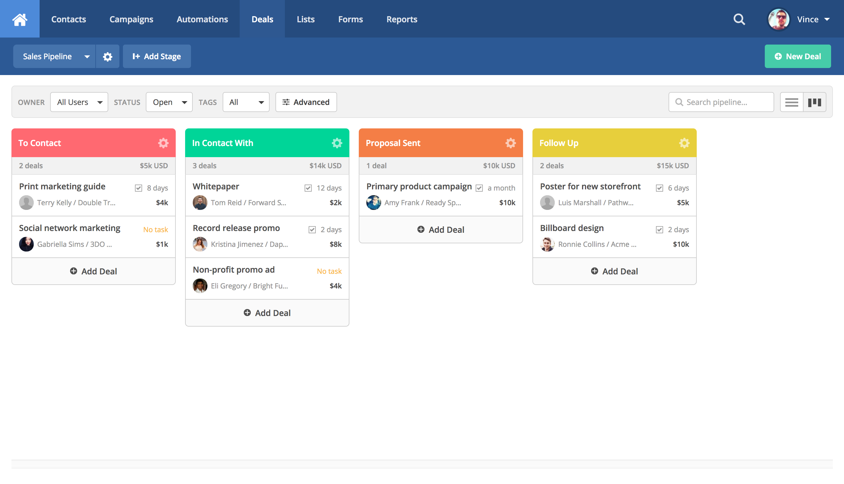 Pipeline view of the sales CRM
