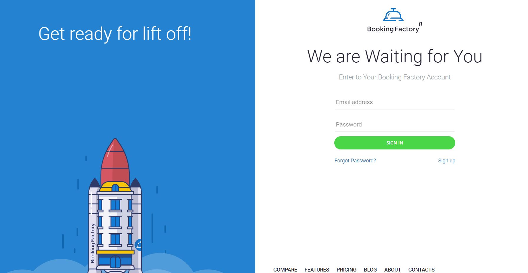 Booking Factory screenshot: Booking Factory user login page