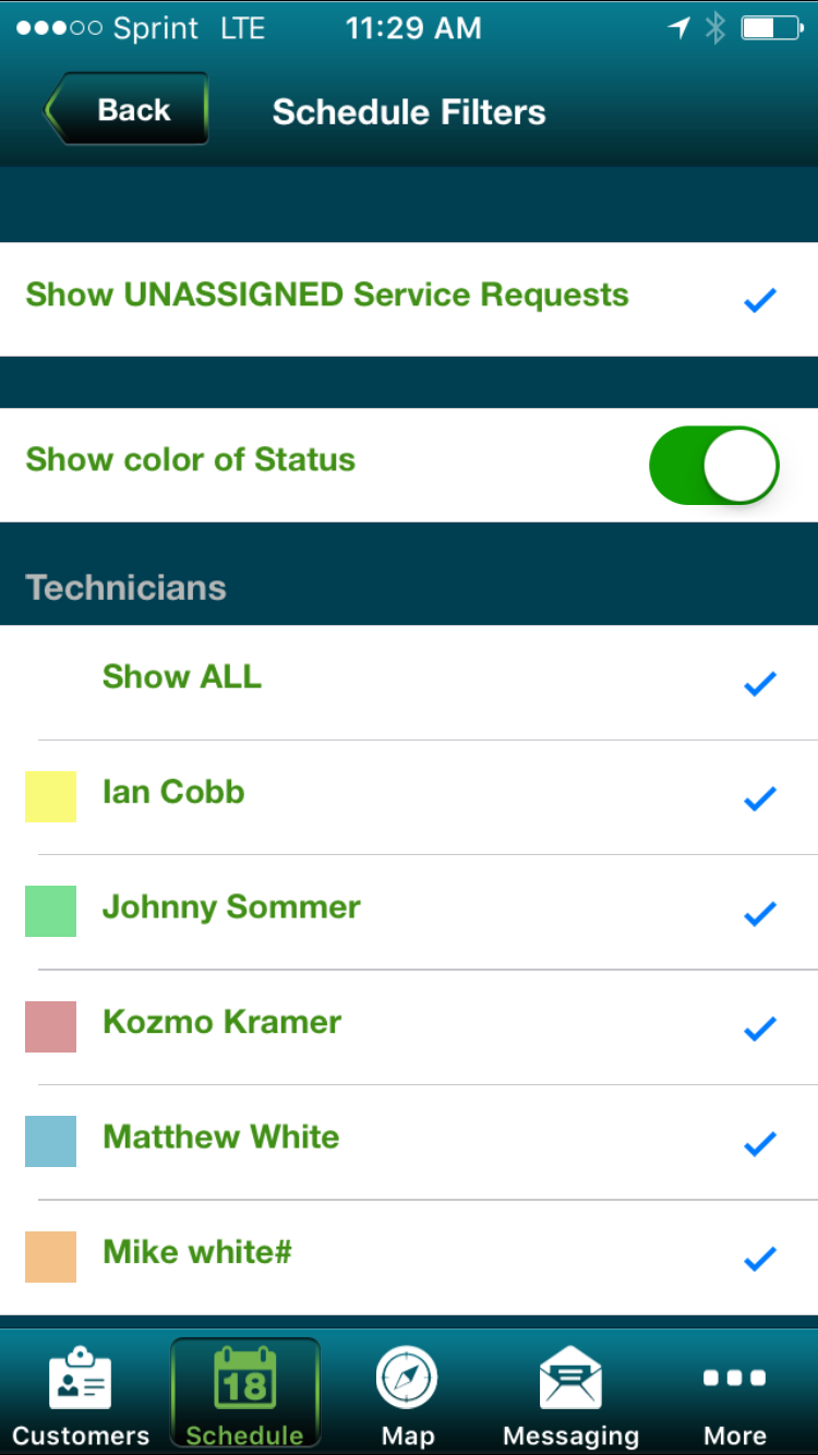 Filter Schedule View by Status