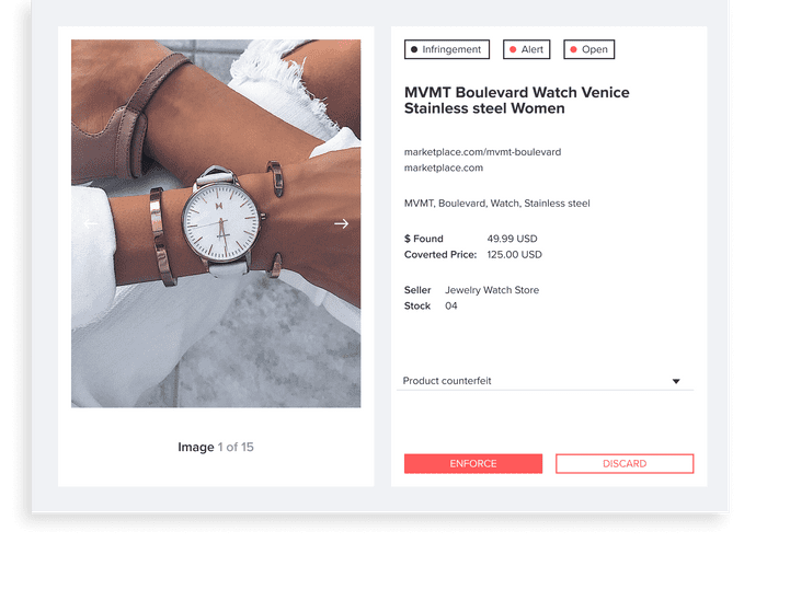 Validate Infringements: Powered by Machine Learning algorithms the platform is constantly working on finding new listings and confirming whether or not they contain counterfeit infringements